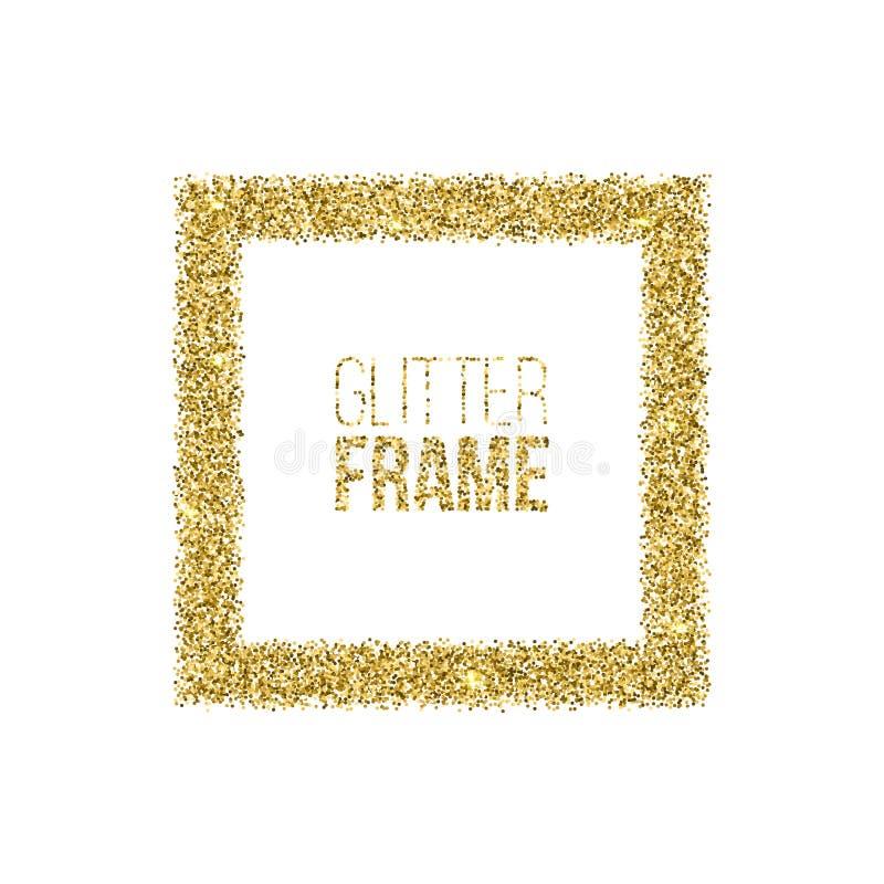 Den fyrkantiga ramen som göras av guld-, blänker isolerat på vit bakgrund Guld- ram för vektor vektor illustrationer