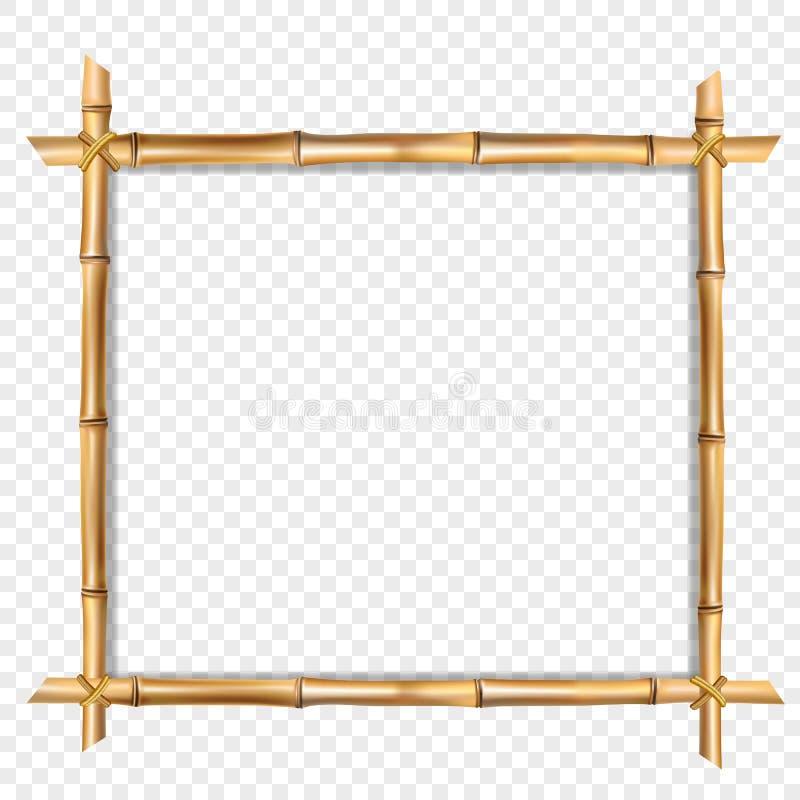 Den fyrkantiga trägränsramen som göras av brun bambu, klibbar royaltyfri illustrationer
