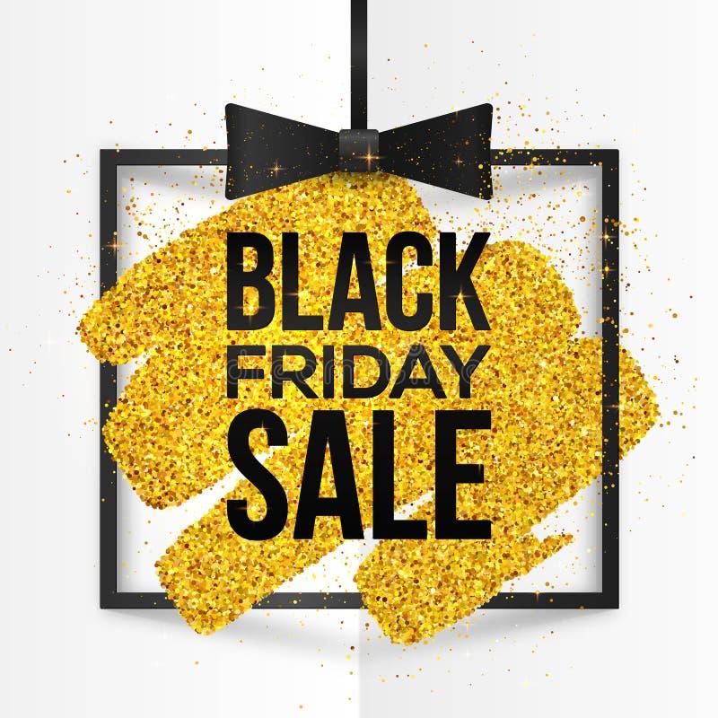 Den fyrkantiga vektorramen med guld- blänker borsteslaglängden och det Black Friday Sale tecknet inom vektor illustrationer