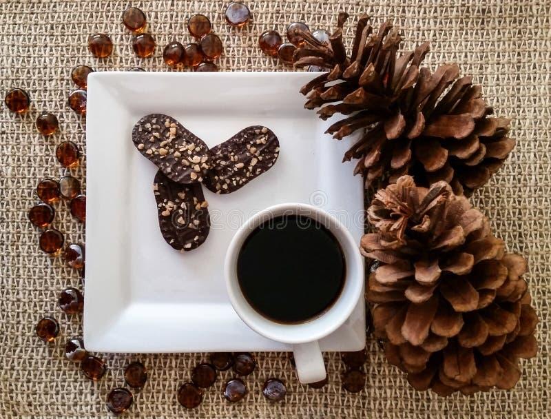 Den fyrkantiga vita plattan och rånar med chokladkakor och svart kaffe royaltyfri foto