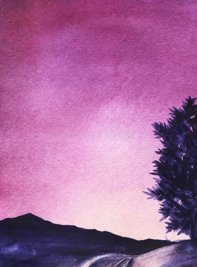 Den gående avlägsna blåa konturn för väg av bergen och det halva trädet på kullen stock illustrationer