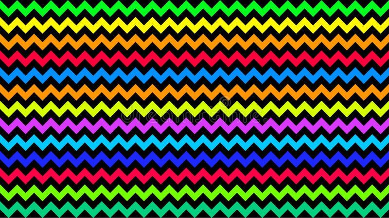 Den göra ett hack i regnbågen gjorde randig färgrikt för bakgrund, konstlinjen färg för formsicksackklottret, tapetslaglän stock illustrationer