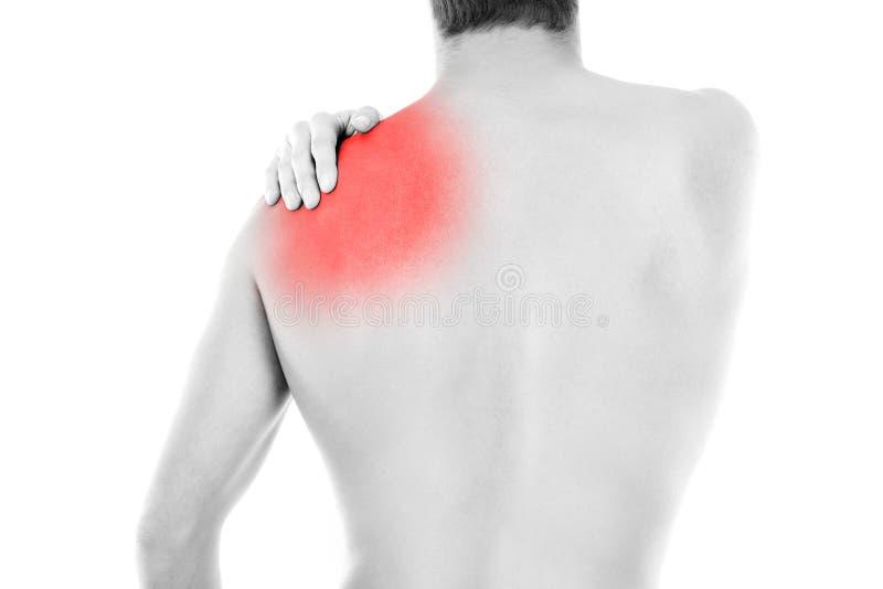 den göra ond desaturated erfarande bildskadan för det tillbaka underlaget som lägger den male manmuskelhalsen, smärtar delvist st arkivfoto