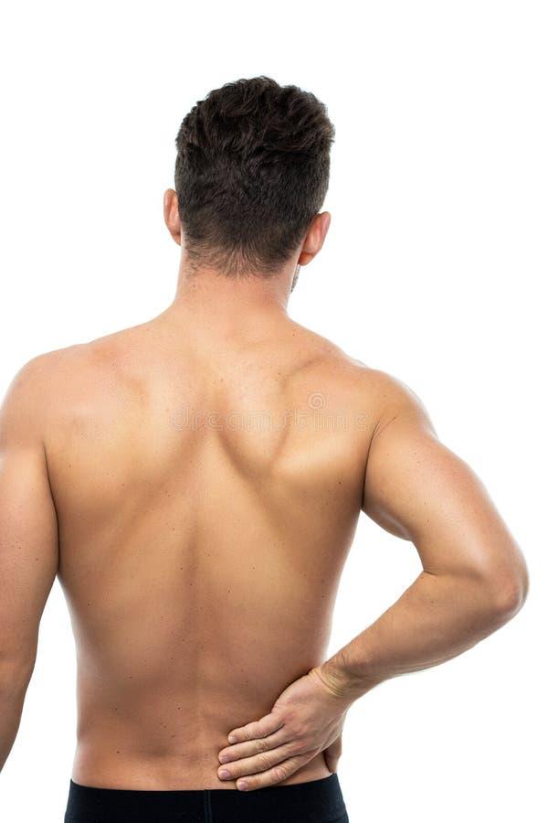 den göra ond desaturated erfarande bildskadan för det tillbaka underlaget som lägger den male manmuskelhalsen, smärtar delvist st royaltyfria foton