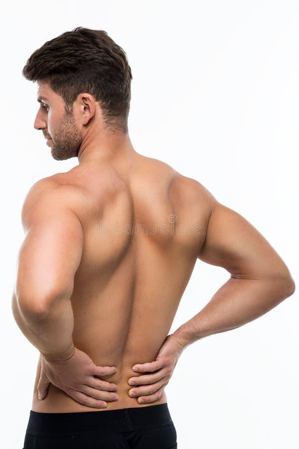 den göra ond desaturated erfarande bildskadan för det tillbaka underlaget som lägger den male manmuskelhalsen, smärtar delvist st arkivfoton