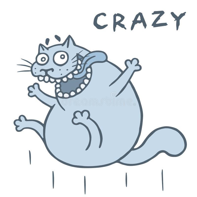 Den galna katten hoppar från lycka också vektor för coreldrawillustration stock illustrationer