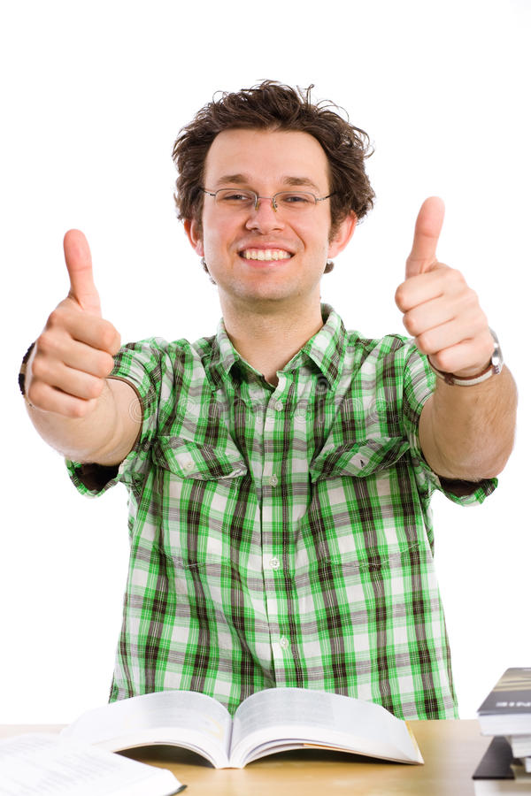 den galna lyckliga isolerade deltagaren tumm upp white arkivfoton