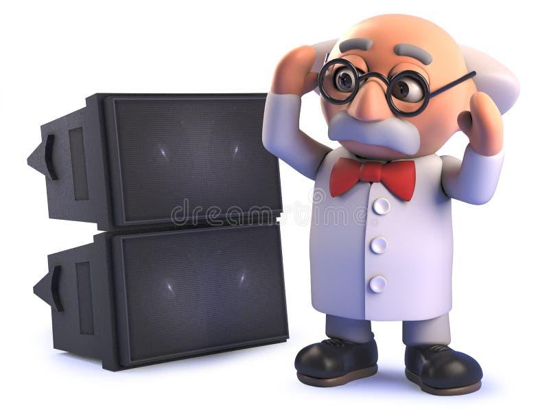 Den galna tokiga forskareprofessorn i 3d gjorde döv vid ett högt solitt system för PA royaltyfri illustrationer