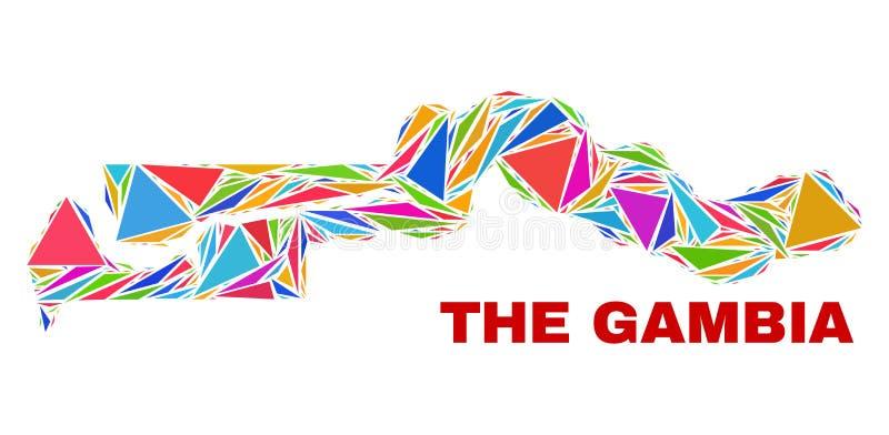 Den Gambia översikten - mosaik av färgtrianglar royaltyfri illustrationer