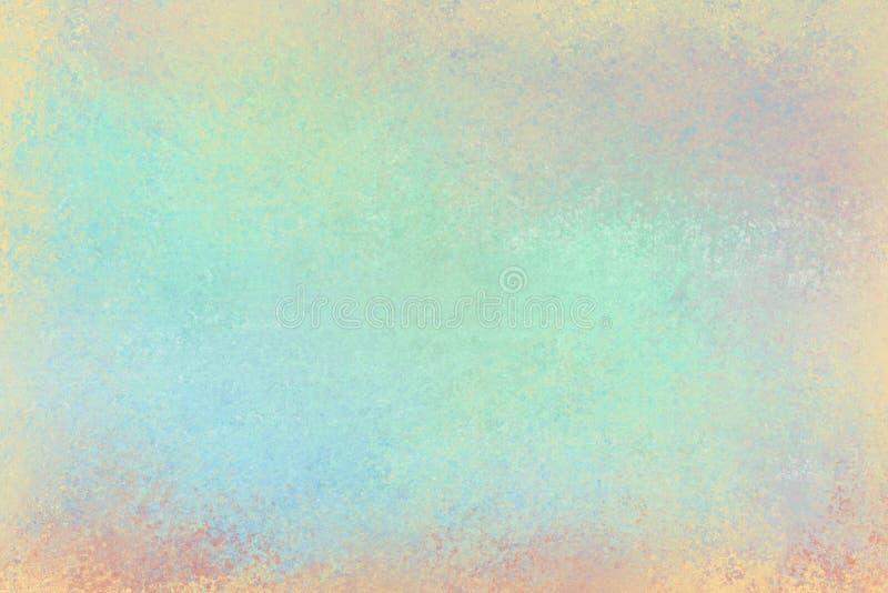 Den gamla bekymrade bakgrundsdesignen med urblekt grungetextur i färger av pastellfärgade rosa färger för blå gräsplan gulnar ora arkivfoto