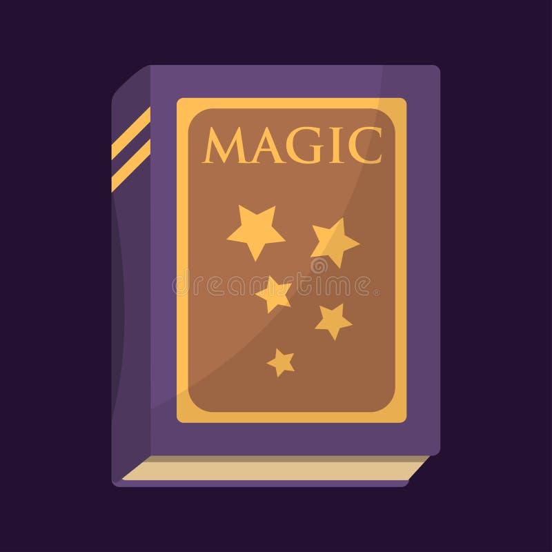Den gamla boken med magiska stjärnor smsar litteratur för utbildning för fantasi för fantasin för sagatappninggåta och religionbi stock illustrationer
