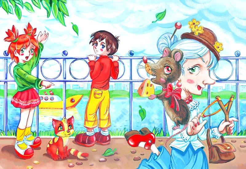 Den gamla damen med husdjuret tjaller och pojken och flickan vektor illustrationer