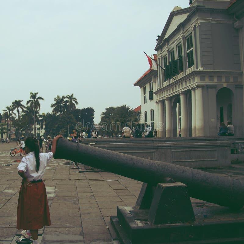 Den gamla delen av Jakarta, kallades en gång som Kota Tua arkivbild