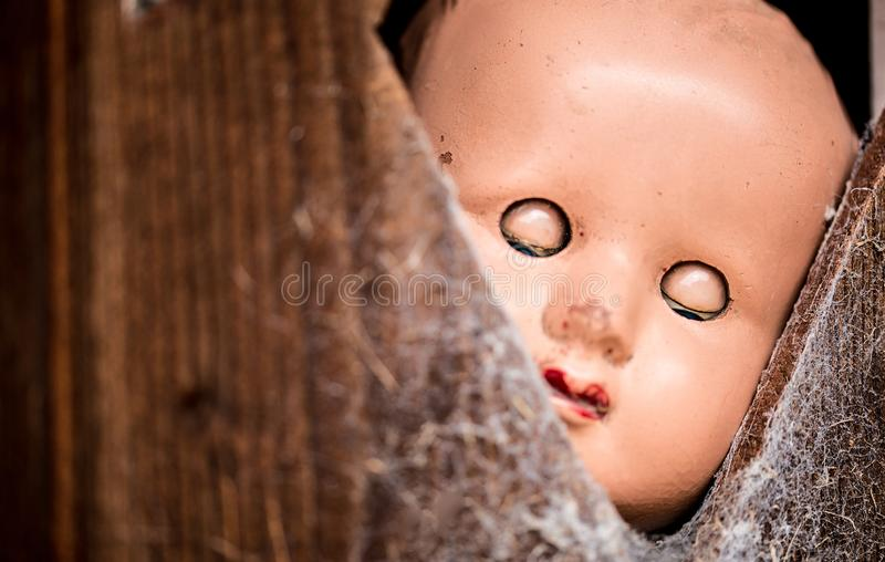 Den gamla dockan med ögon stängde att plira till och med en dold öppning för spindelnät i en trädörr royaltyfria bilder