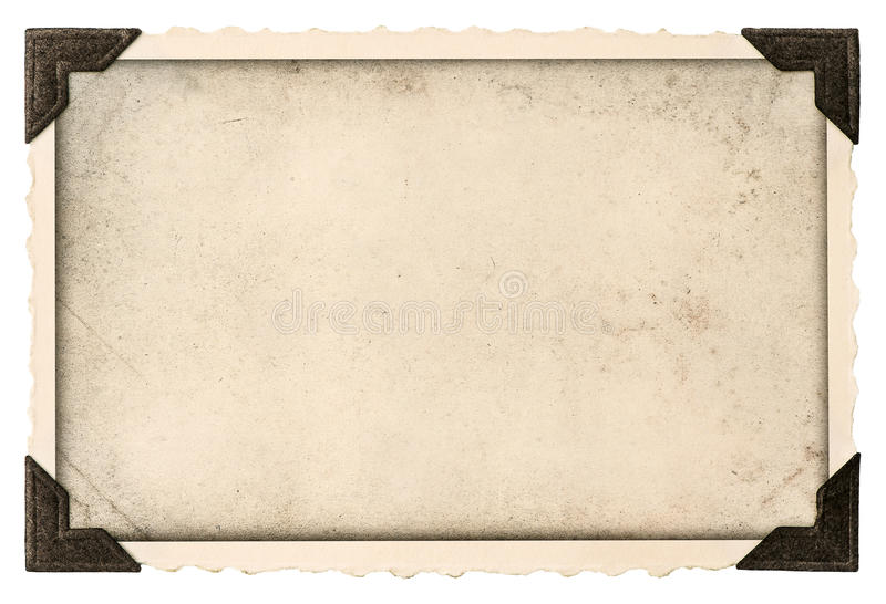 Den gamla fotoramen med hörnet och tömmer fältet för din bild royaltyfri foto