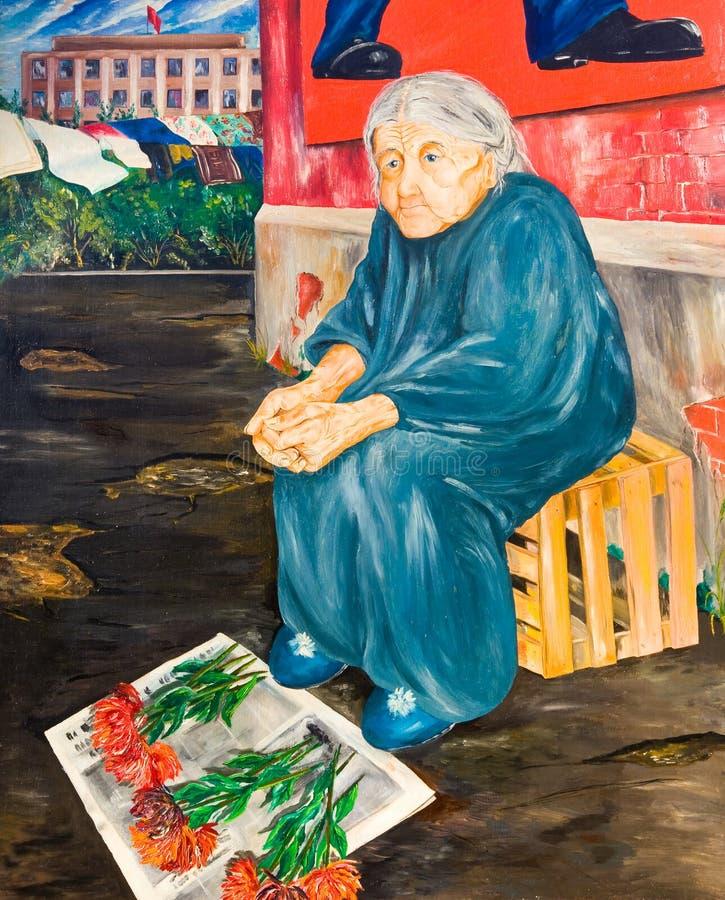 Den gamla kvinnan säljer blommor på gatan flod för målning för skogliggandeolja royaltyfri illustrationer