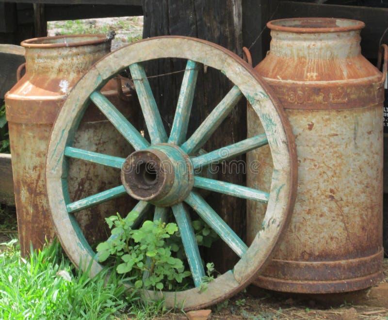 Den gamla lantgården av mjölkar arkivfoton