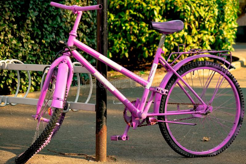 Den gamla lila cykeln med plana hjulställningar i parkerar arkivbilder
