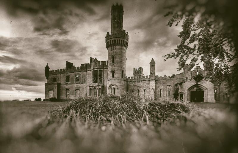 Den gamla medeltida slotten fördärvar, trädet och stormig himmel i sepiastil royaltyfri foto