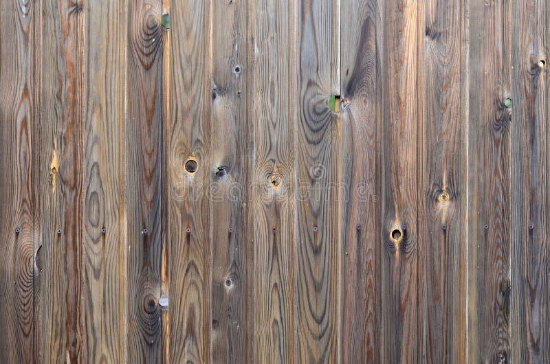 Den gamla modellen för panelen för mörk brunt för grunge wood med härlig abstrakt kornyttersidatextur, lodlinje gjorde randig bak royaltyfri bild