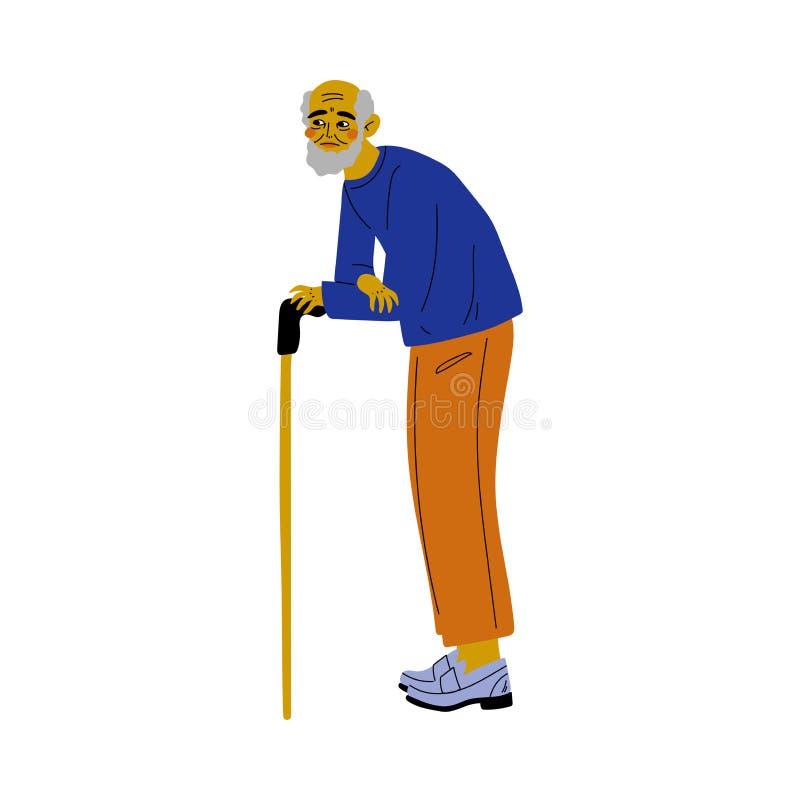 Den gamla pensionären uppsökte mannen som går med Cane Vector Illustration royaltyfri illustrationer