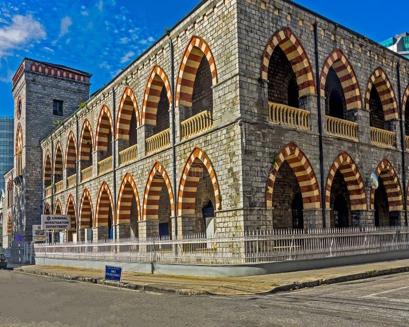 Den gamla polisstationen i port - av - Spanien, Trinidad och Tobago arkivbild