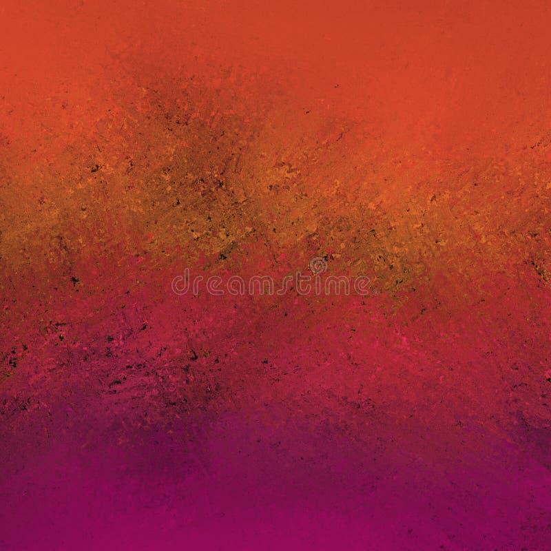 Den gamla rostade röda rosa purpurfärgade illustrationen för apelsin- och brunttappningbakgrund med rostad metalltextur bedrövade royaltyfri bild