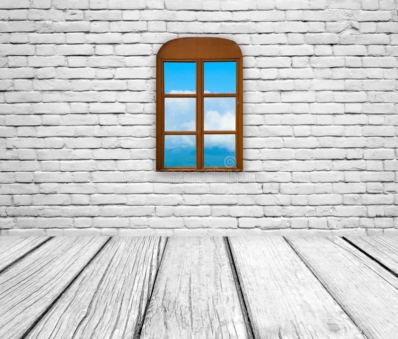 Den gamla ruminre, tegelstenvägg, woden golvet och fönstret arkivbild