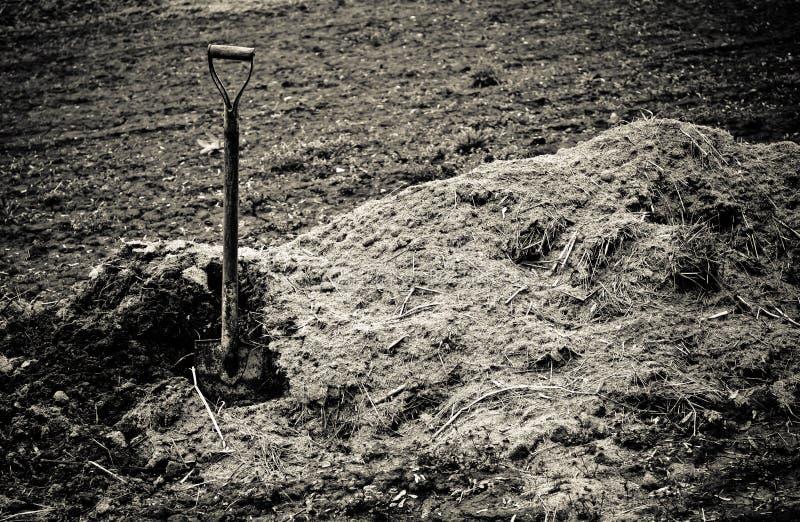 Den gamla skyffeln klibbar upp i hög av jord. Tonad Sepia royaltyfria foton