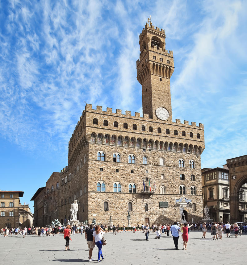 Den gamla slotten (Palazzo Vecchio), Florence (Italien) royaltyfria bilder