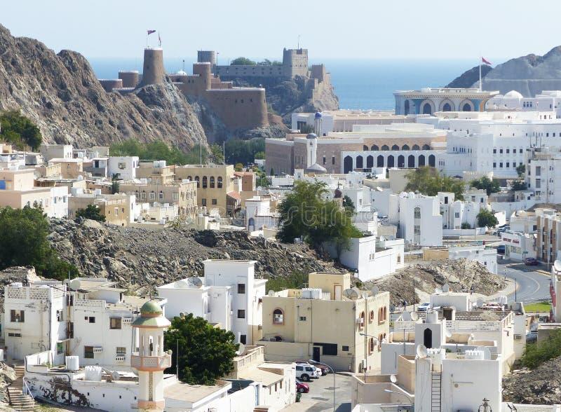 Den gamla staden av Muscat fr?n ?ver royaltyfria foton