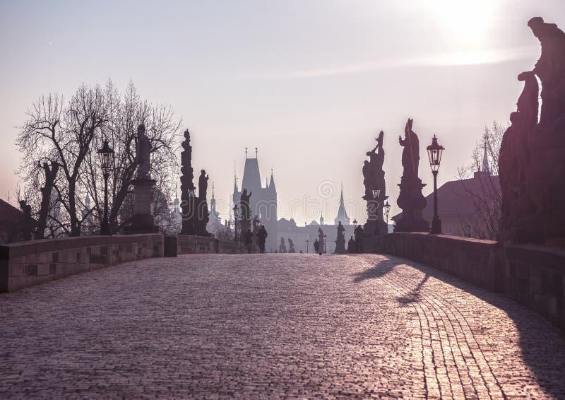 Den gamla staden med den Charles bron i Prague tidigt på morgonen Prague royaltyfri foto