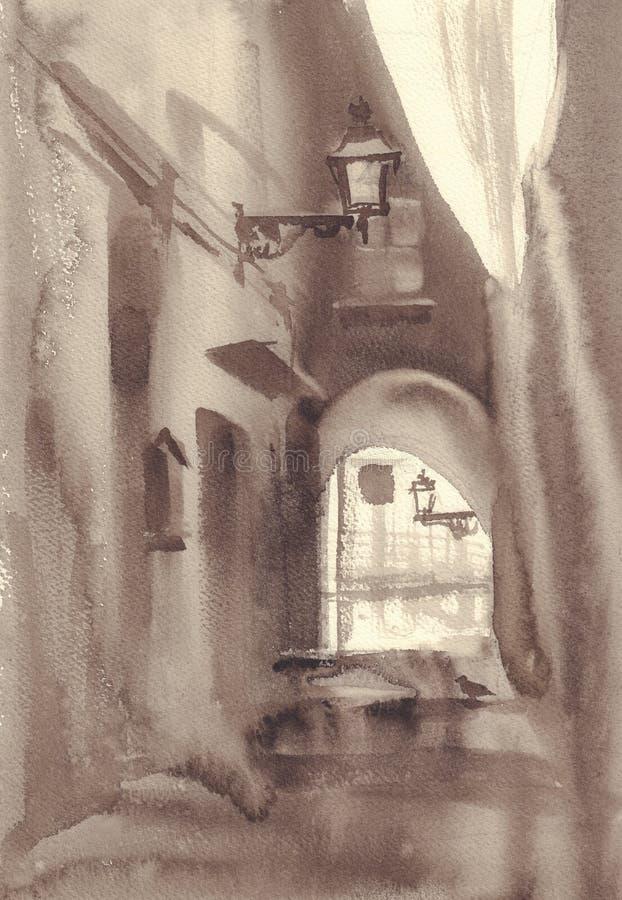 Den gamla staden skissar i sepiavattenfärgbakgrund arkivfoton