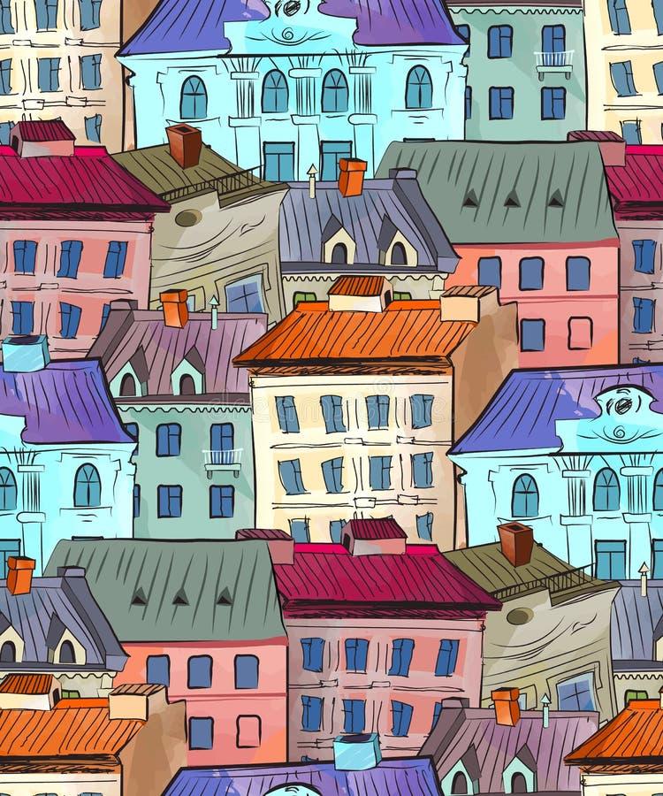 Den gamla staden taklägger den sömlösa modellen stock illustrationer