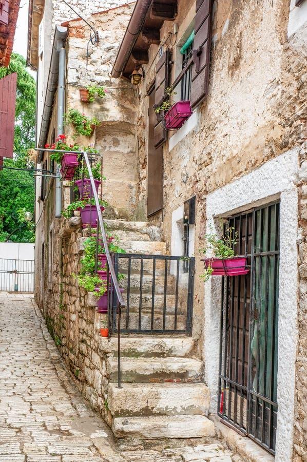 Den gamla stentrappuppgången dekoreras med krukor av pelargon och petuniablommor i stenhuset europeisk gata arkivbild