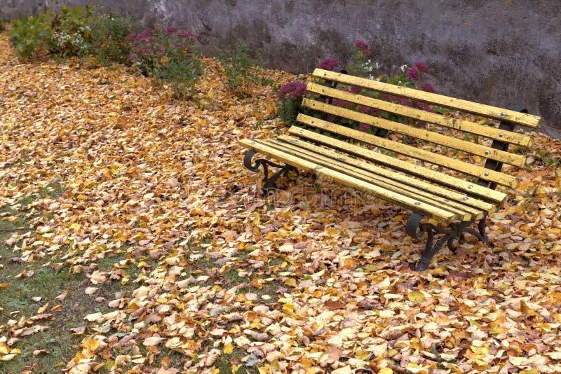 Download Den Gamla Träbänken I Stad Parkerar Naturlig Tappninghöstbakgrund Arkivfoto - Bild av fall, inget: 78729860