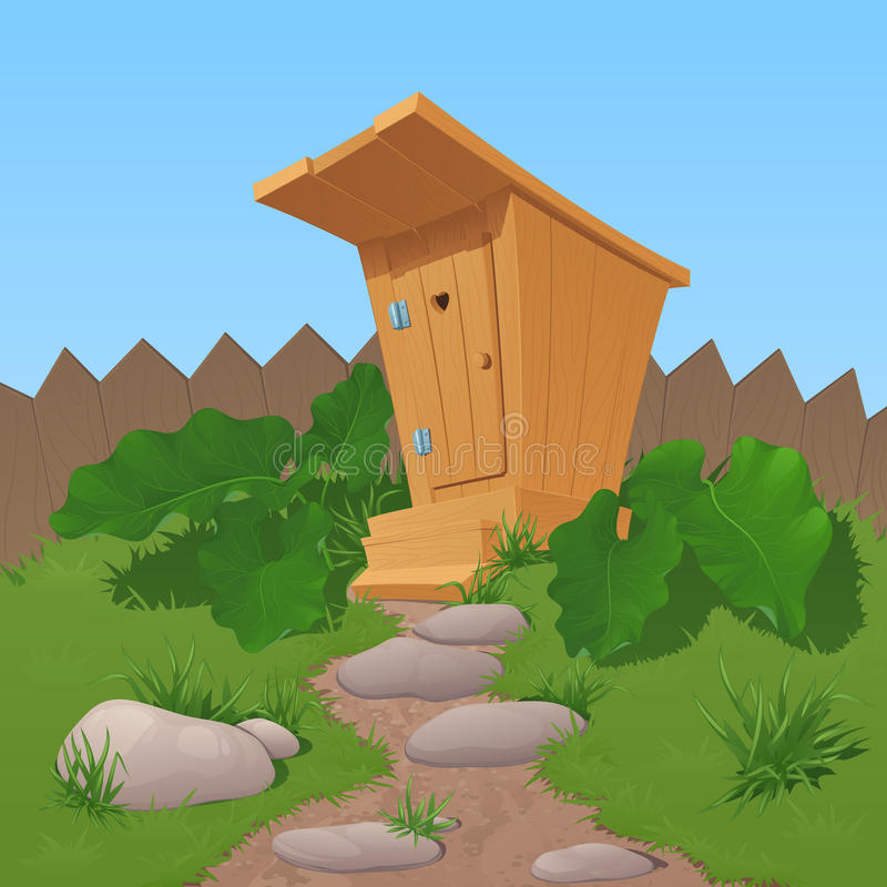 Den gamla trälantliga toaletten från bräden med den stängda dörren, en markis och moment, står nära ett staket stock illustrationer
