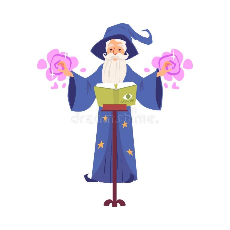 Den gamla trollkarl- och trollkarlmannen med hatten och skägget gjuter ett pass genom att använda boken av magi royaltyfri illustrationer