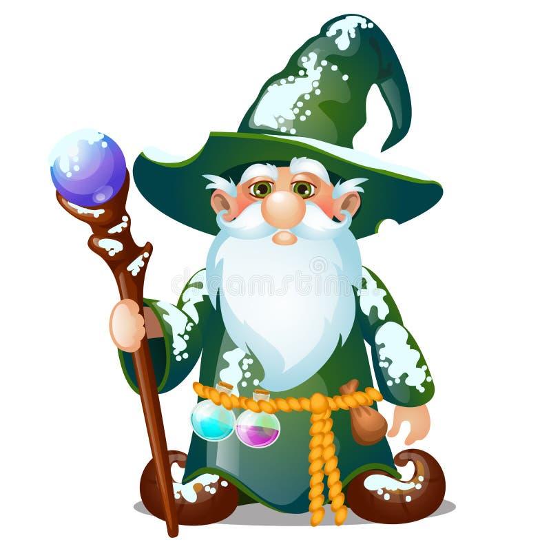Den gamla trollkarlen med hatten och den magiska pinnen som isoleras på vit bakgrund Pr?vkopia av affischen, partiferieinbjudan royaltyfri illustrationer