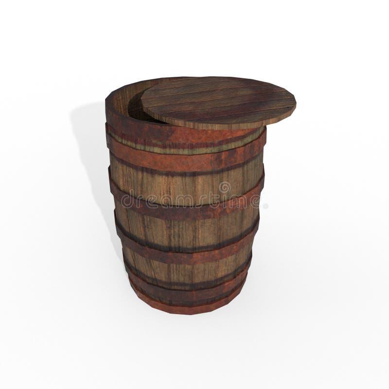 Den gamla trumman av winemakingbrunttappning med järnringar, att åldras av vin och öl eller kväv, processteknologi 3d framför royaltyfri illustrationer