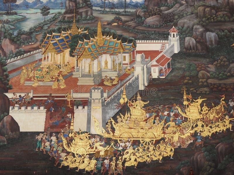 Den gamla väggmålningen är berättelsen av ramakian på väggen från Wat Phra kaew arkivbilder