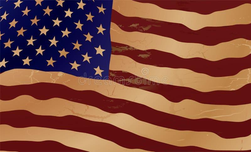 den gammala flaggan ripple oss royaltyfri illustrationer