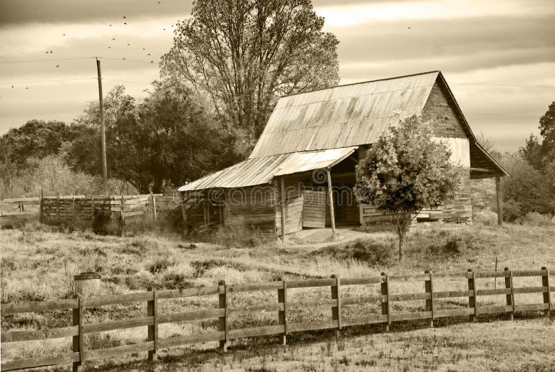 den gammala ladugården betar sepia arkivfoton