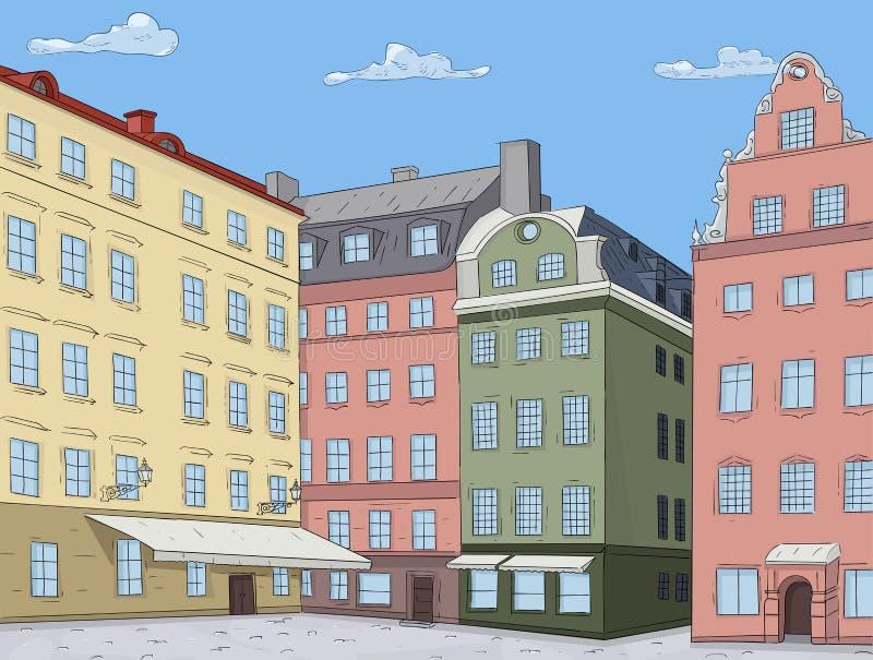 Den gammala staden beskådar kulöra hus Stortorget fyrkant i Stockholm också vektor för coreldrawillustration stock illustrationer