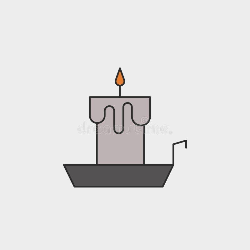 Den gammalmodiga tända stearinljuset/ljusstake på hållareöversikt färgade symbolen stock illustrationer