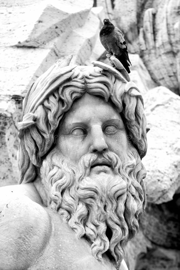 Den Ganges statyn, piazza Navona (Rome, Italien) arkivfoton