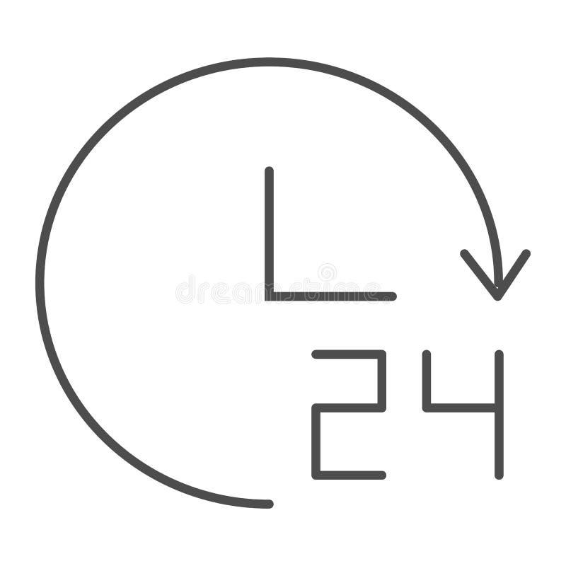 Den ganzen Tag Stützdünne Linie Ikone 24 Stunden Vektorillustration lokalisiert auf Weiß Vierstündliches Artdesign des Entwurfs z lizenzfreie abbildung