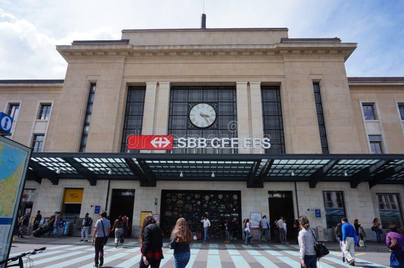 Den Gare Cornavin drevstationen i Genève, Schweiz royaltyfri foto