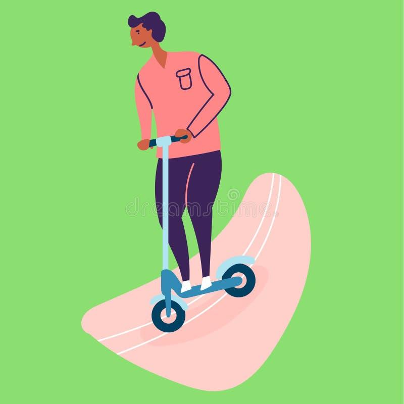 Den garvade grabben rider en sparkcykel på asfalten stock illustrationer