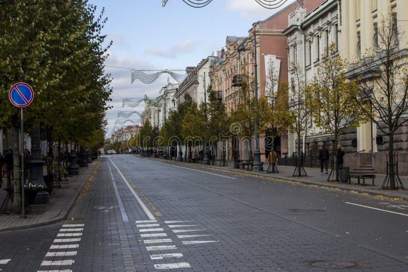 Den Gediminas avenyn i Vilnius lithuania royaltyfria foton
